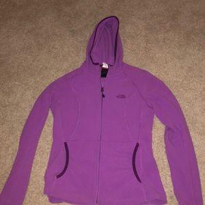 purple north face zip-up hoodie
